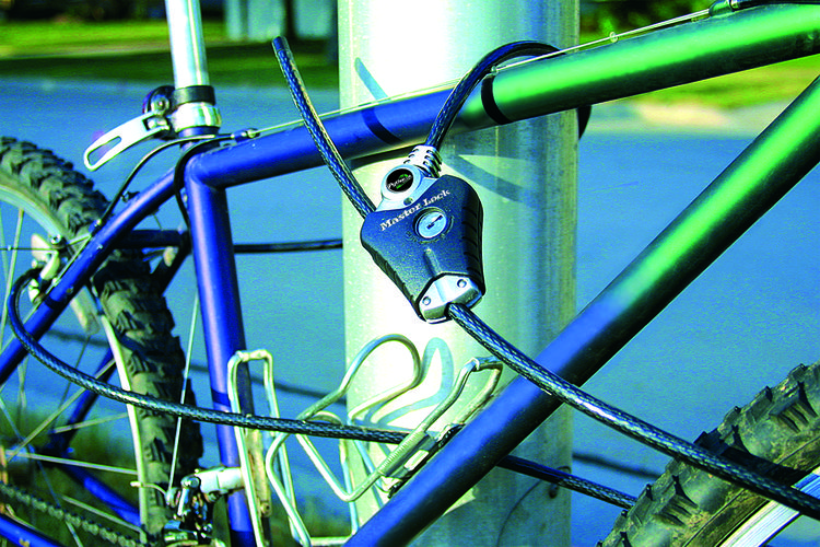 Bike lock locking bike to pole