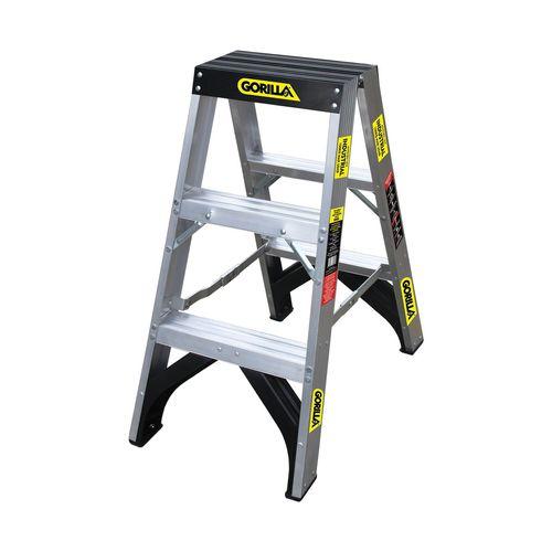 Gorilla 150kg Aluminium 3 Step Double Sided Ladder