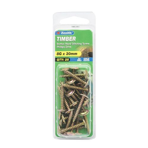 Zenith 8G x 30mm Button Head Timber Stitching Screws - 25 Pack