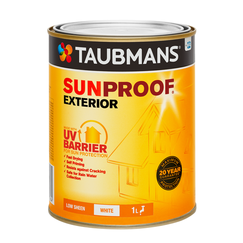 Taubmans Low Sheen White Sunproof Exterior Paint - 1L White