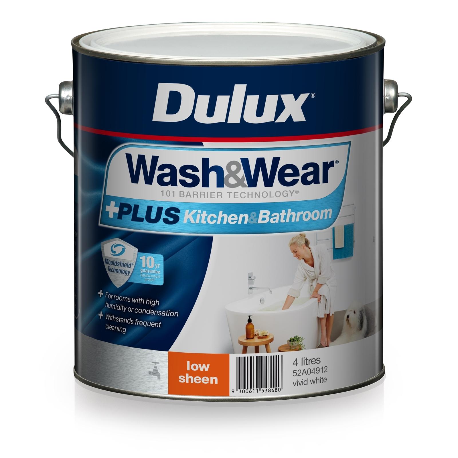 Dulux 4L Interior Paint Wash&Wear +PLUS Kitchen & Bathroom Low Sheen Vivid White