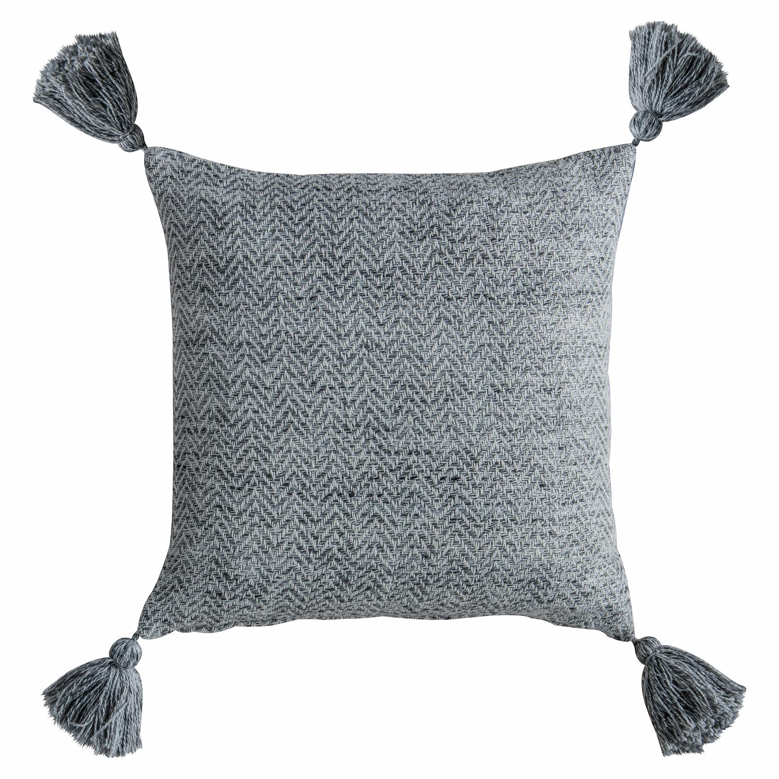 Simmoons 450 x 450mm Charcoal Herringbone PET Tassel Cushion