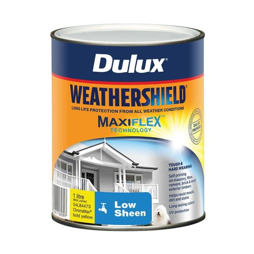 Dulux 1L Exterior Paint Weathershield Low Sheen Bold Yellow