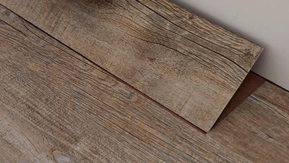 Vinyl plank flooring resembling floorboards
