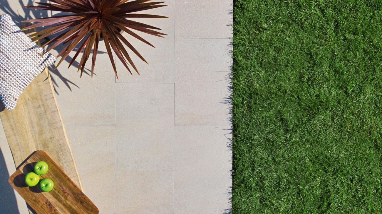 Above shot of Tuscan Path porcelain pavers