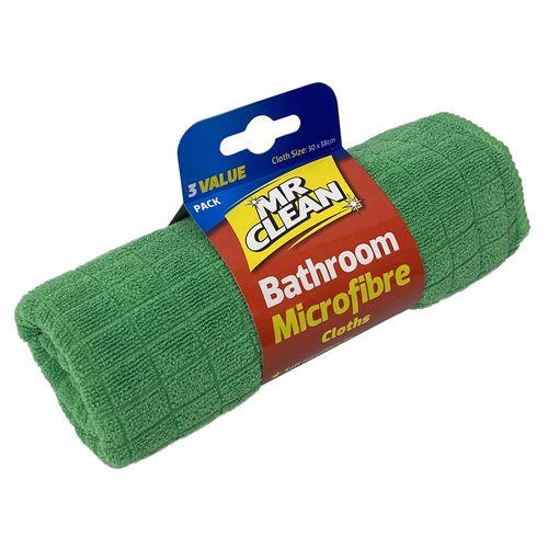 Mr Clean Bathroom Microfibre Cloths - 3 Pack