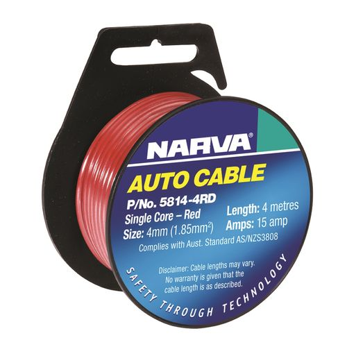Narva 4mm x 4m 15A Red C Single Core able