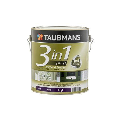 Taubmans 4L White 3 In 1 Interior And Exterior Primer Undercoat Sealer