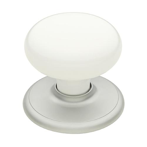 Schlage 45mm Satin Pearl / White Classic Wardrobe Knob