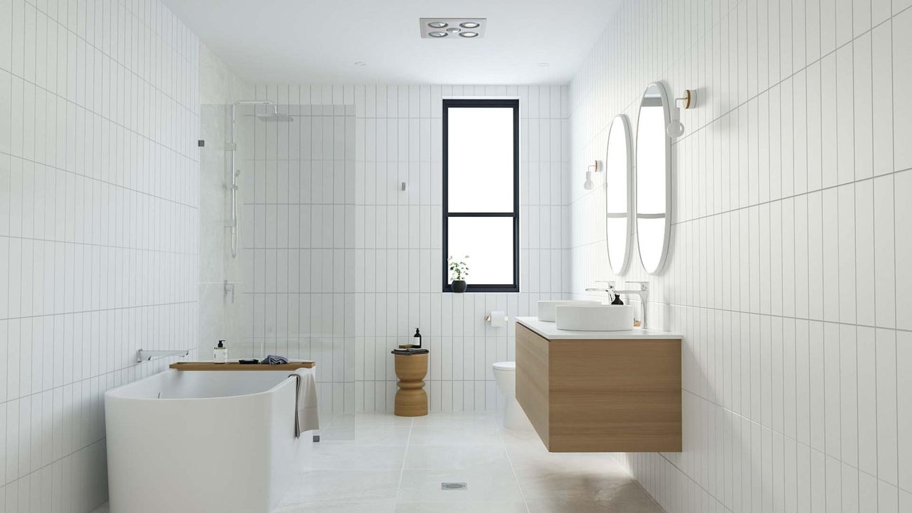 Scandi style white and timber bathroom