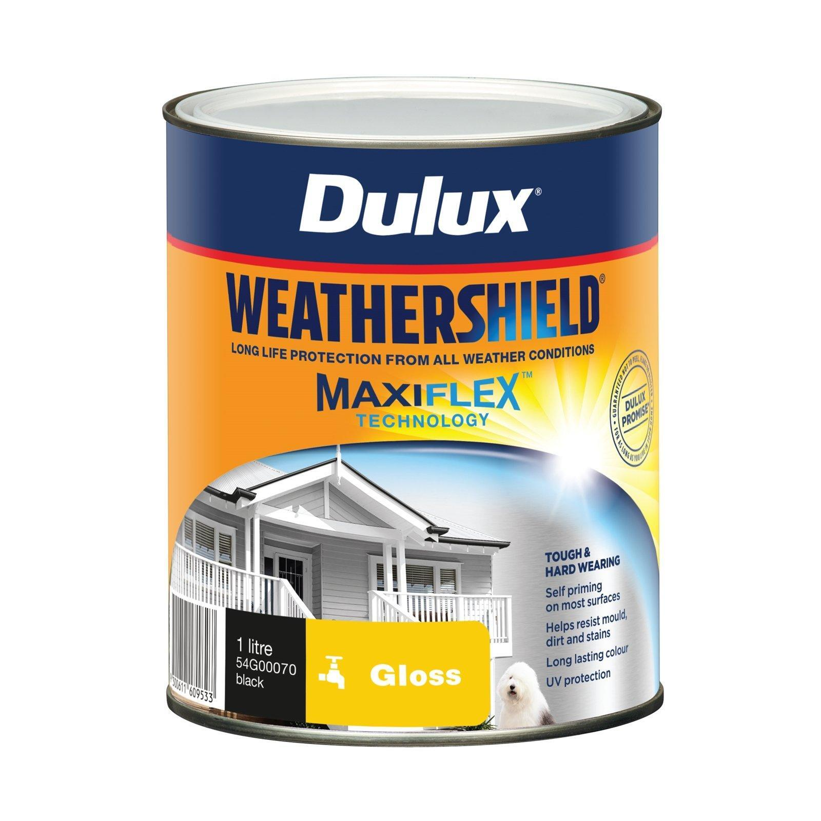 Dulux 1L Exterior Paint Weathershield Gloss Black