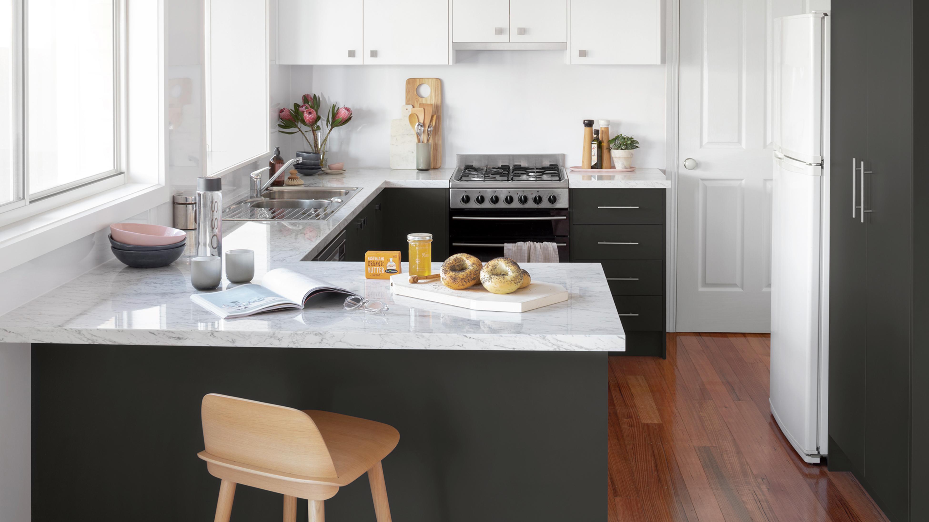 L-shaped kitchen.