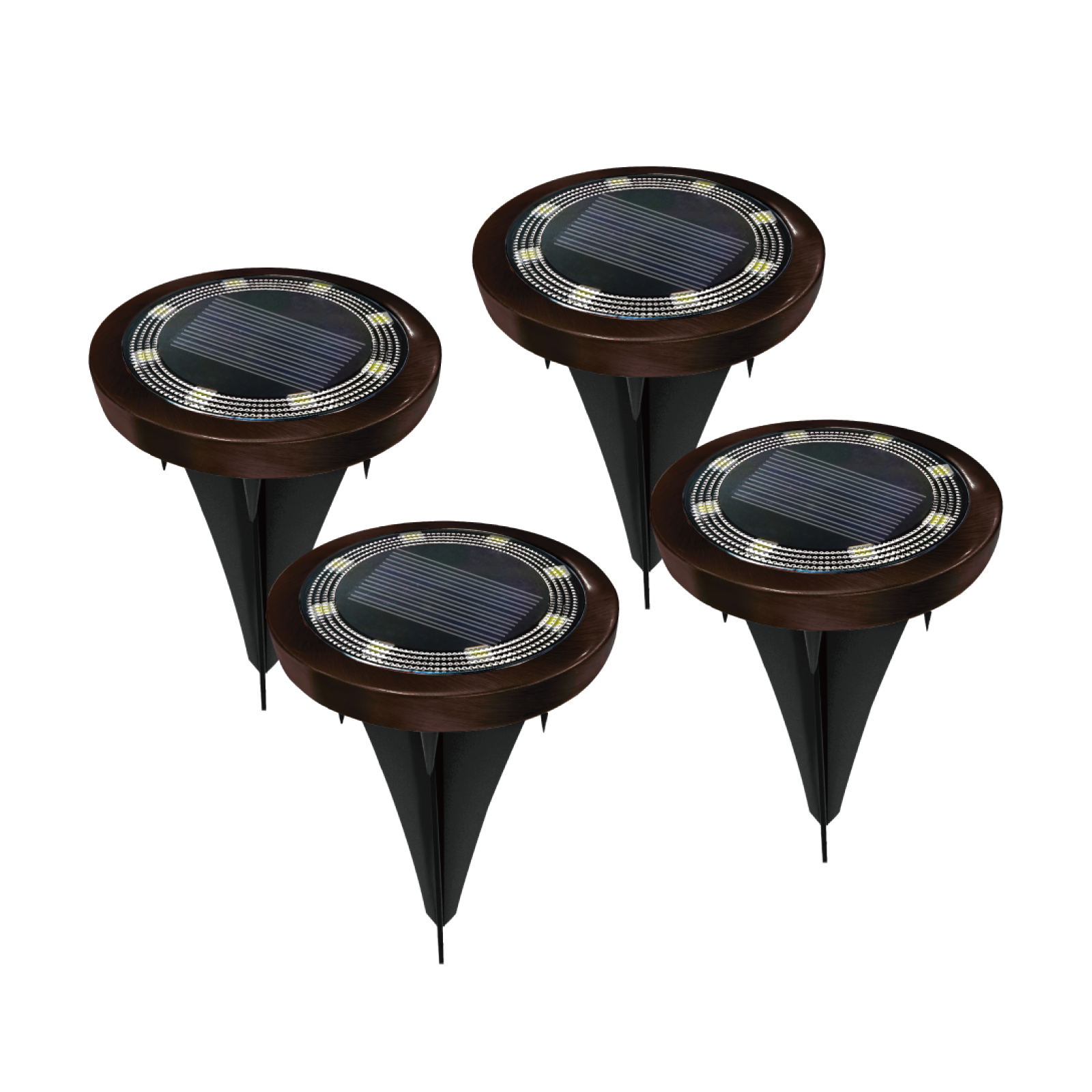 Click LED Solar Disc Lights - 4 Pack