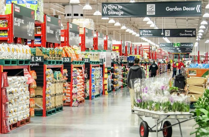 store aisle in a bunnings store