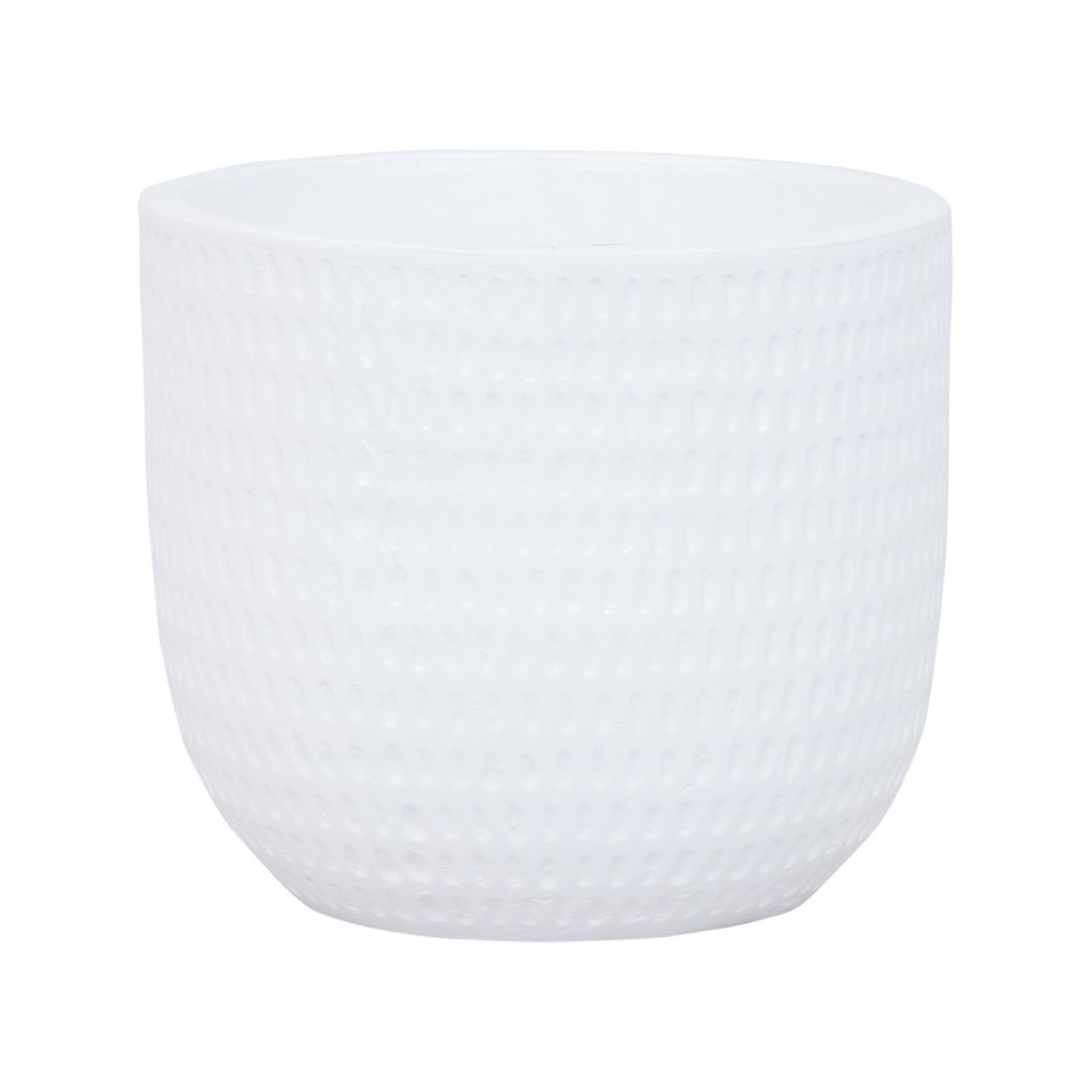 Lotus 23.5 x 21cm White Large Dotty Ceramic Egg Pot