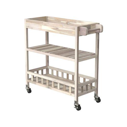 Interbuild 80 x 35 x 85cm Organic White Holger SUV Kitchen Cart