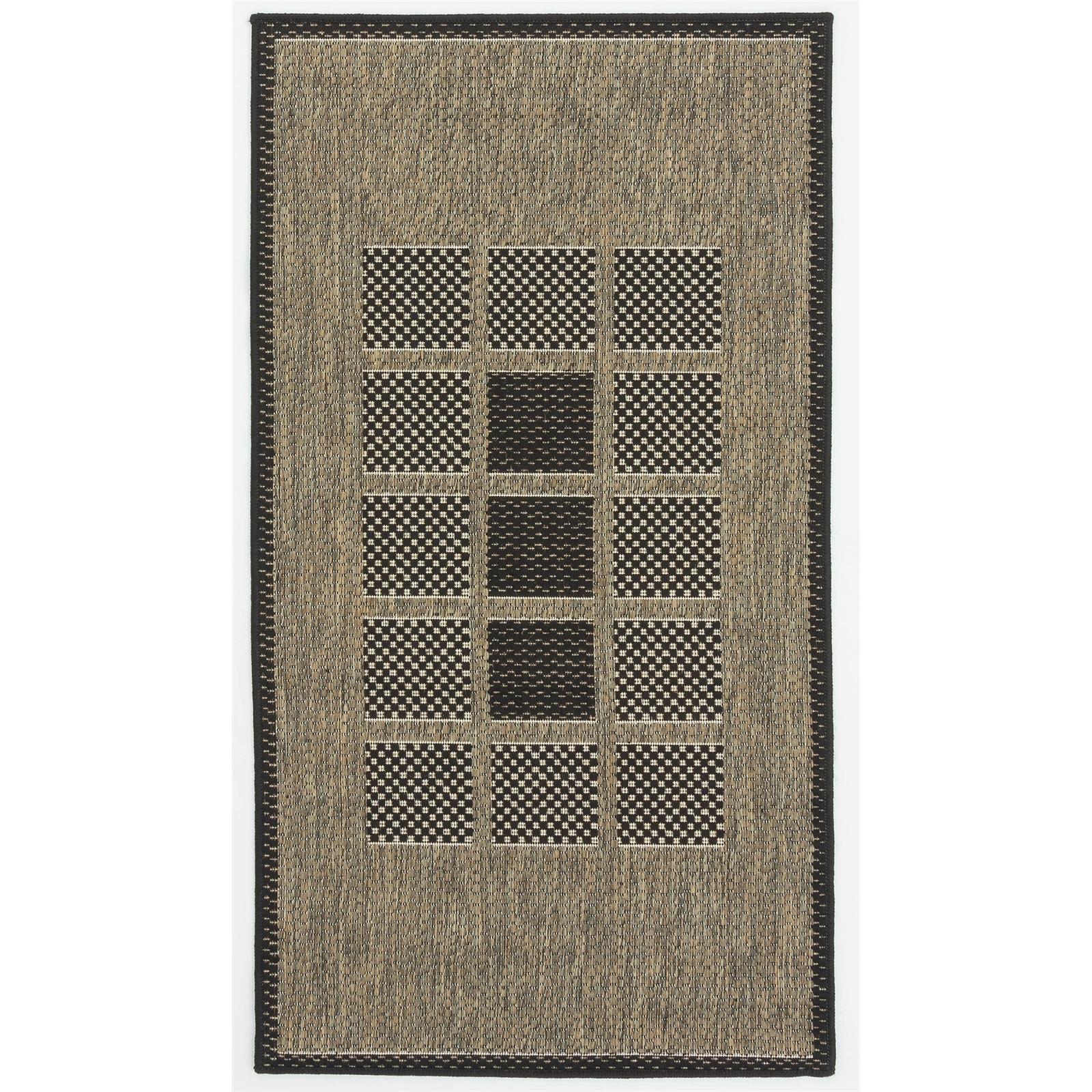 Hufflett 80 x 150cm Grey Windows Ceduna Polypropylene Flat Weave Rug