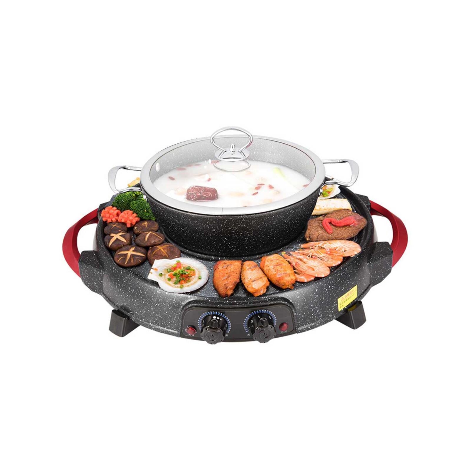 SOGA 2 in 1 Electric Stone Coated Teppanyaki Grill Plate Steamboat Hotpot