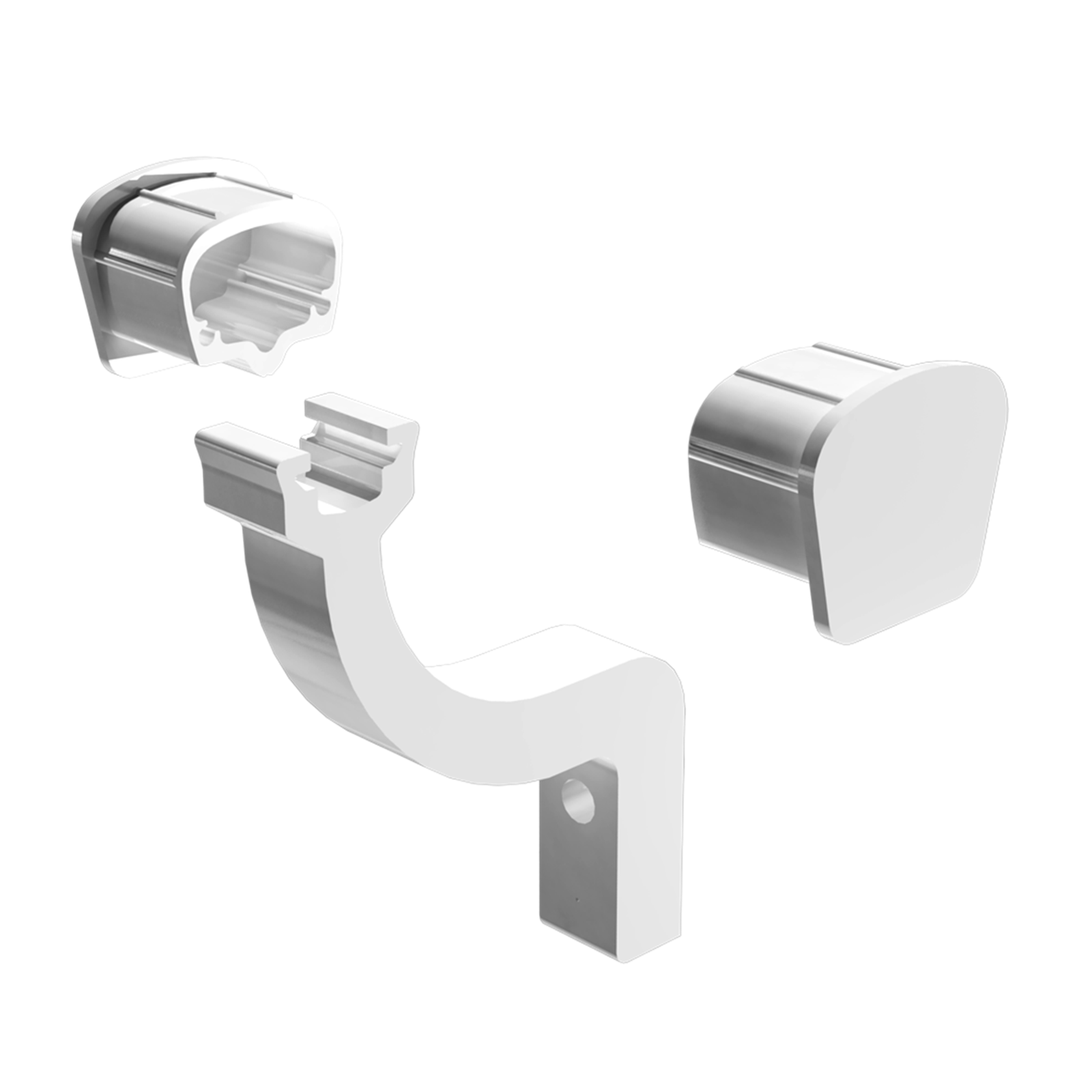 Peak Products White Aluminium Modular Handrail Brackets And End Caps