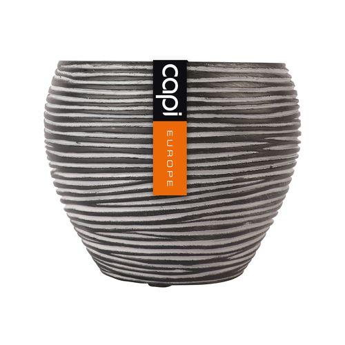 Capi 11 x 9cm Black Rib Taper Round Vase