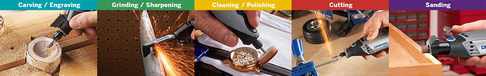 Carving / Engraving - Grinding / Sharpening - Cleaning / Polishing - Cutting - Sanding