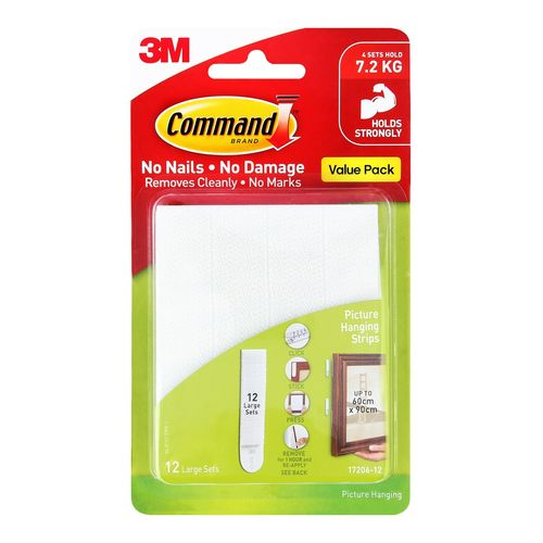 Command™ Large White Adhesive Picture Hanging Strips Value Pack - 12 Pack