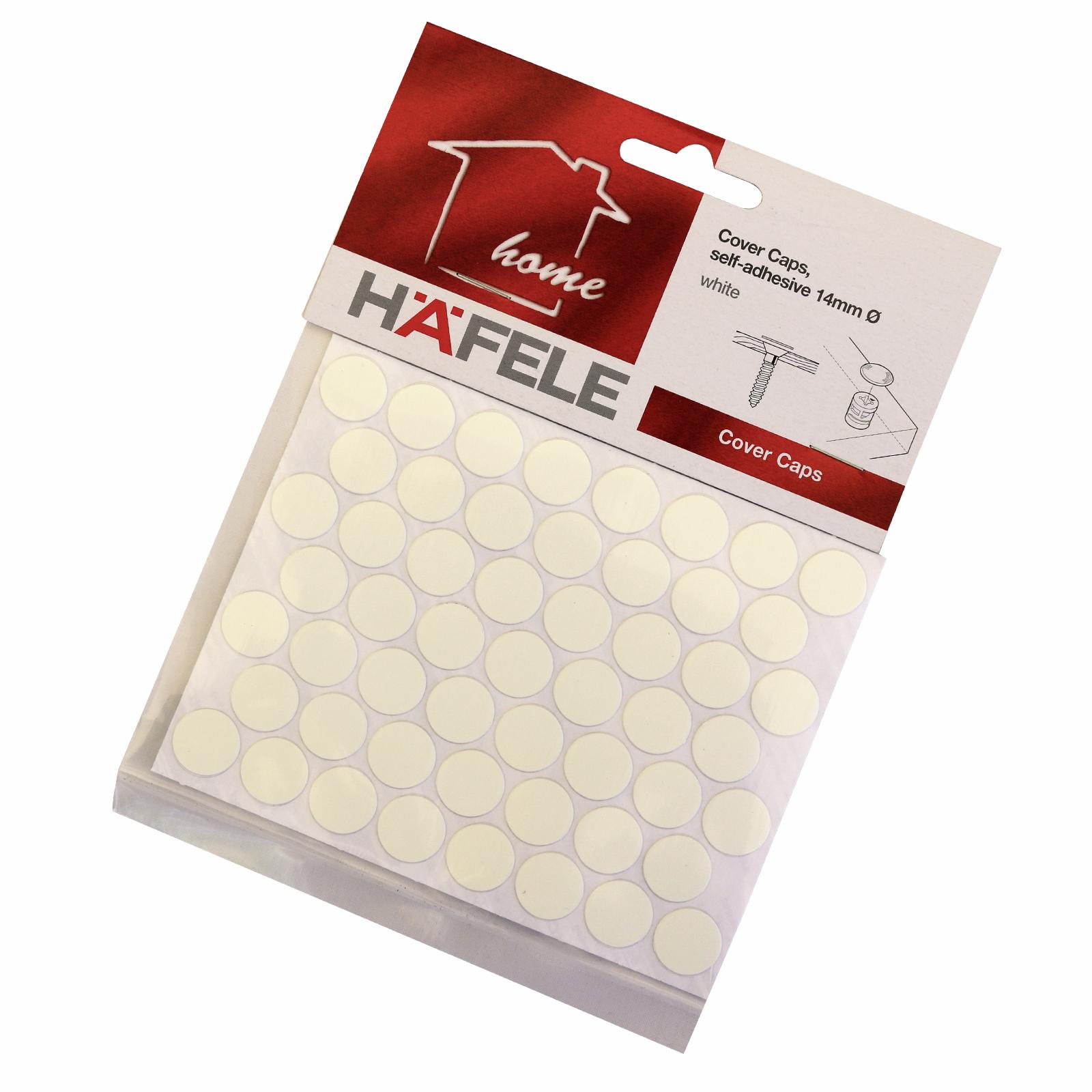 Hafele 14mm White Self Adhesive Cover Cap - 52 Pack