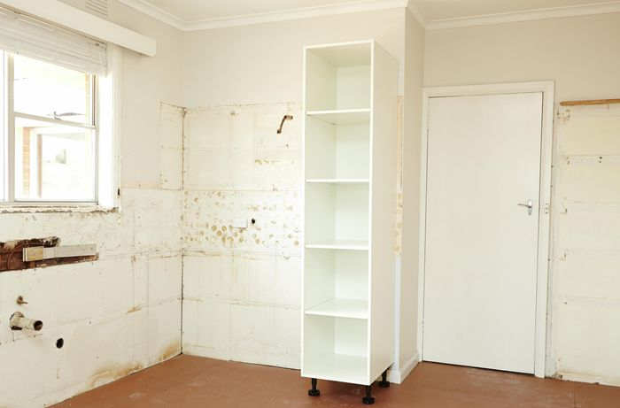 Pantry installed in incomplete kitchen