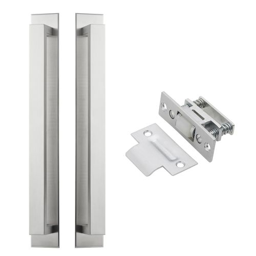 Delf Trade Satin Stainless Pull Handle on Plate Back To Back with Roller Bolt