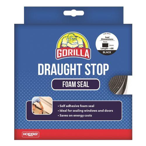 Gorilla 9mm x 6mm x 4m Black Draughts Stop Foam