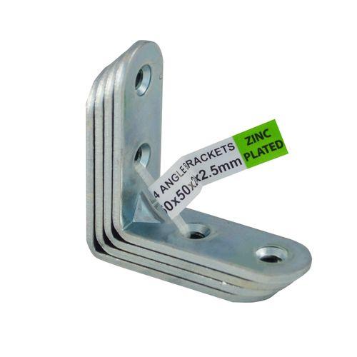 Carinya 50 x 50 x 20 x 2.5mm Zinc Plated Angle Bracket - 4 Pack
