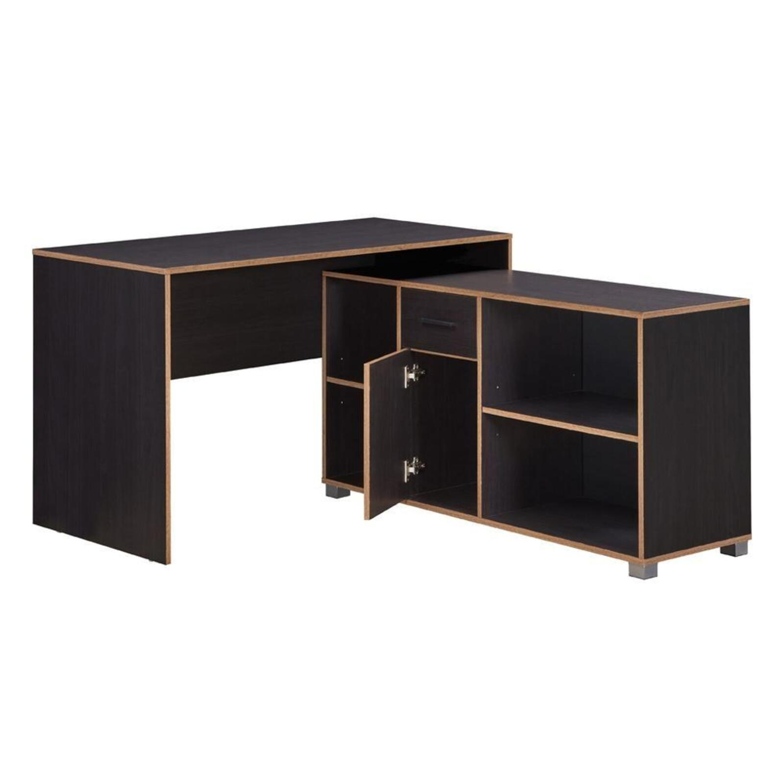 Deanes L-Shaped Executive Manager Office Corner Desk With Storage - Black