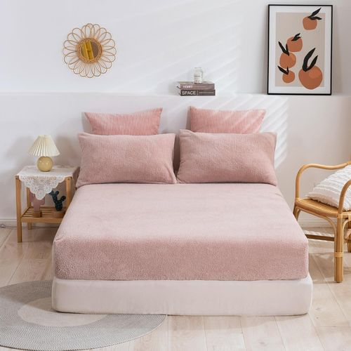 Dreamaker Tedding Fleece Fitted Sheet Set Pink