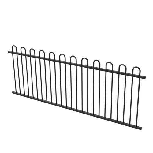 Protector Aluminium 2450 x 900mm Loop Top Fence Panel - Satin Black