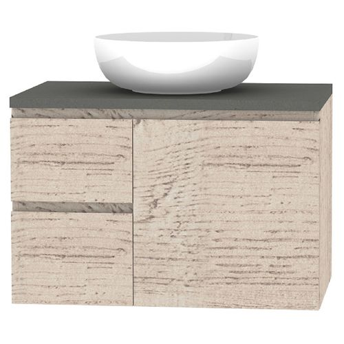 Forme 750mm Mont Albert Wall Mount Vanity With Cement Stone Top And Atom Basin No Tap Hole - LH Drawers - Light Ash