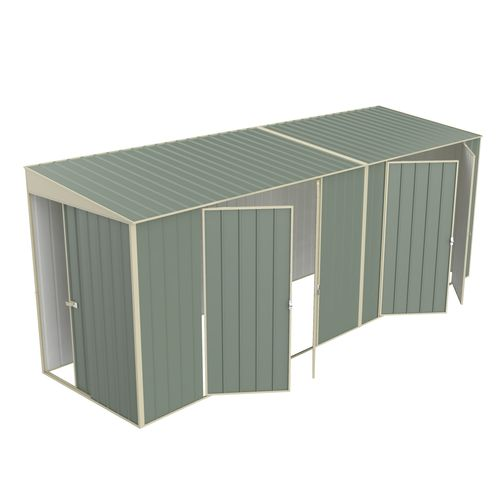 Build-a-Shed 1.5 x 5.2 x 2.0m Skillion Double Plus Double Hinged Side Doors Shed - Green