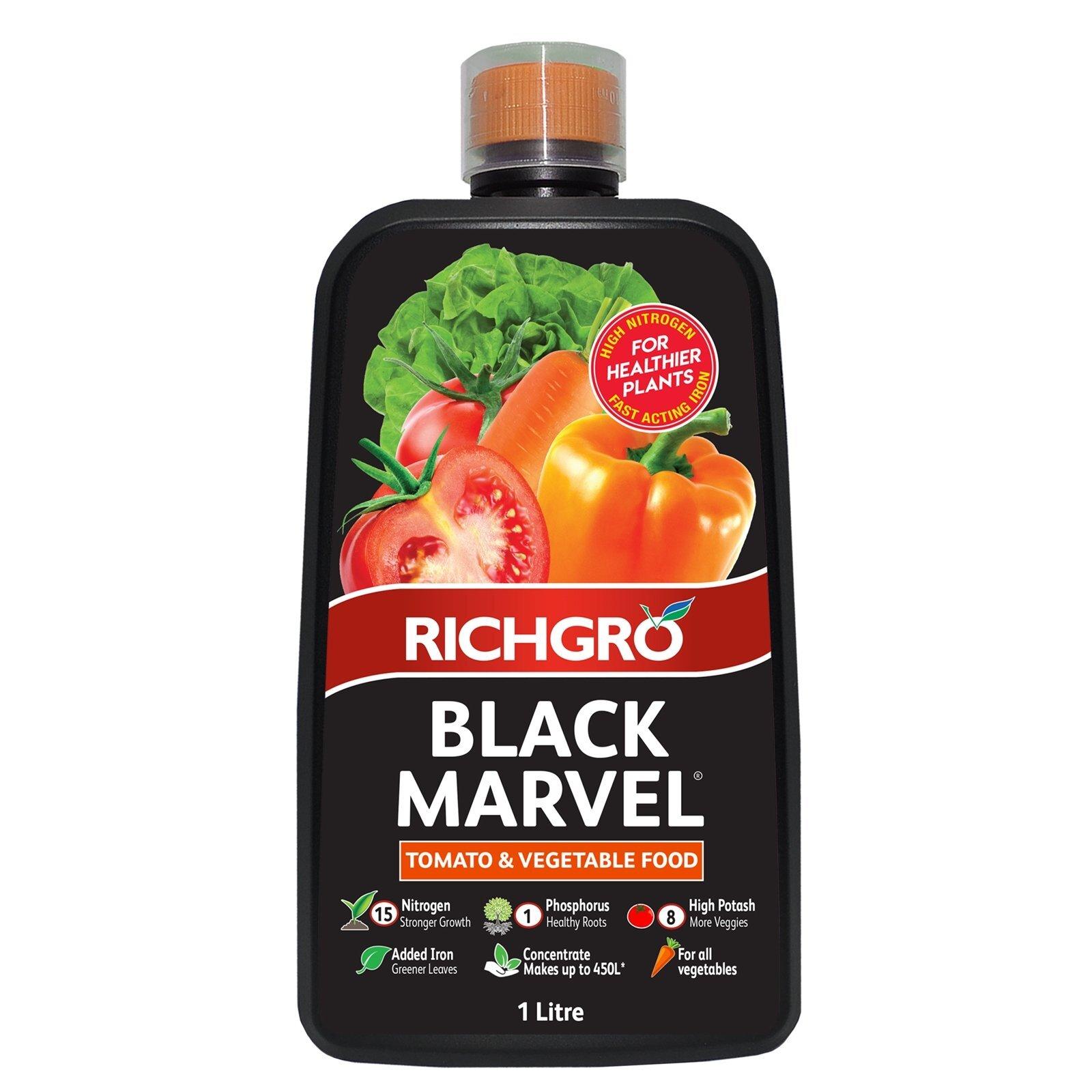 Richgro 1L Black Marvel Tomato And Vegetable Food Liquid Fertiliser Concentrate