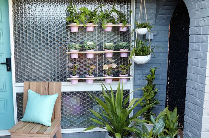 A blue themed outdoor area with a variety of pot plants, some hanging from vertical gardens or hanging baskets