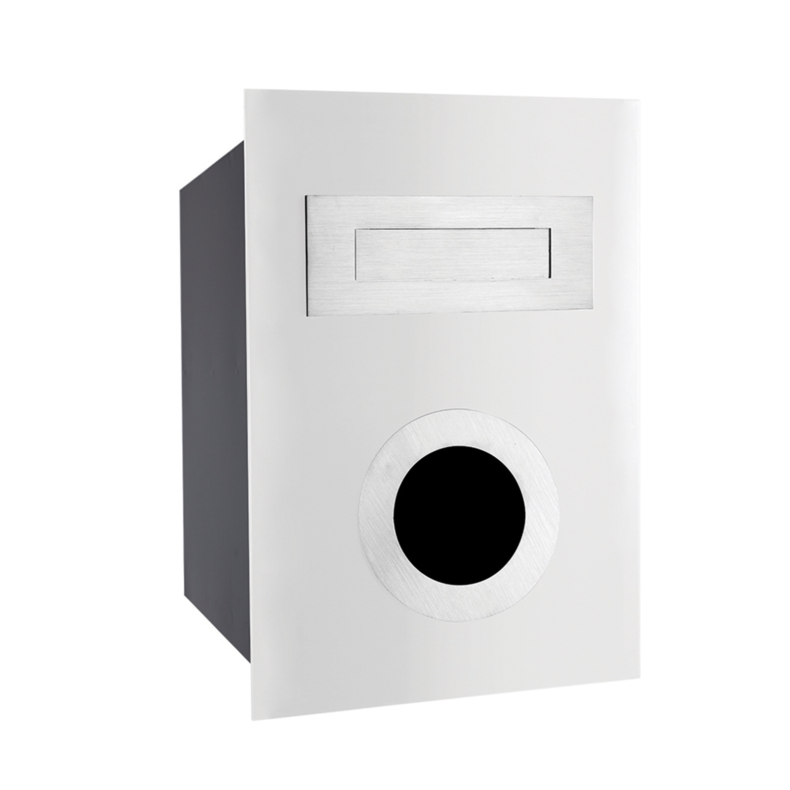 Sandleford White With Stainless Steel Ned Kelly Fence Mounted Letterbox