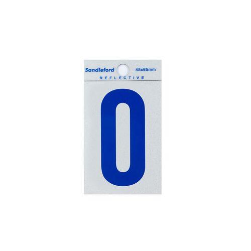 Sandleford 65mm Blue Reflective Self Adhesive Numeral 0