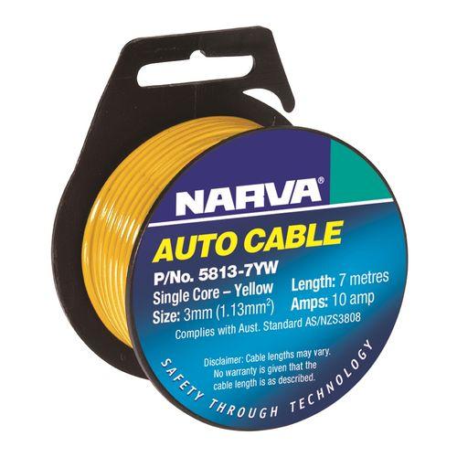 Narva Cable Single Core 10amp 3mmx 7m Yellow