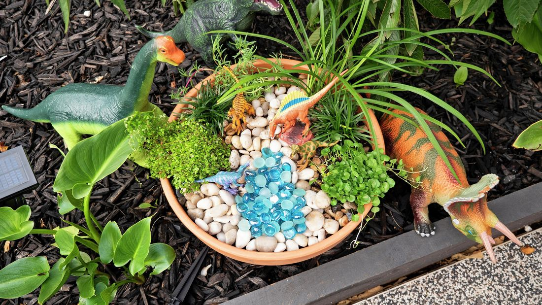 Outdoor pebble garden with toy dinosaurs scattered throughout