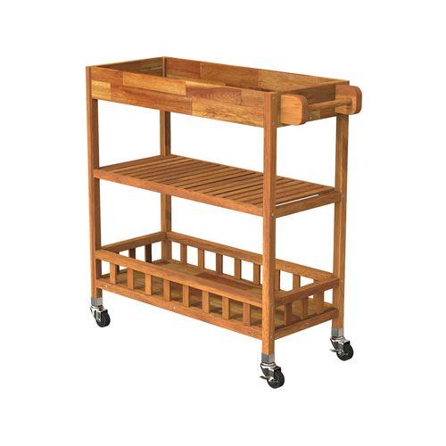 Interbuild 80 x 35 x 85cm Golden Teak Holger SUV Kitchen Cart