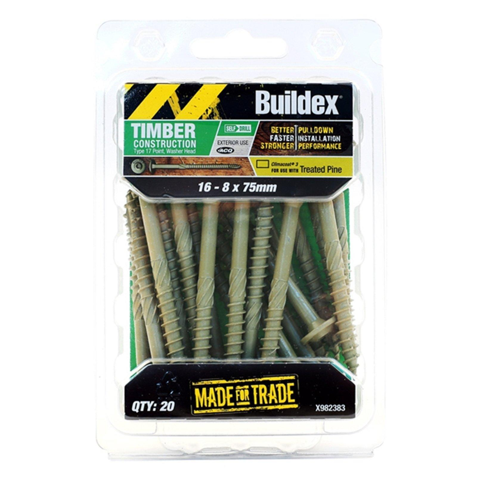 Buildex 16-8 x 75mm Climacoat Type 17 Timber Construction Screws - 20 Pack