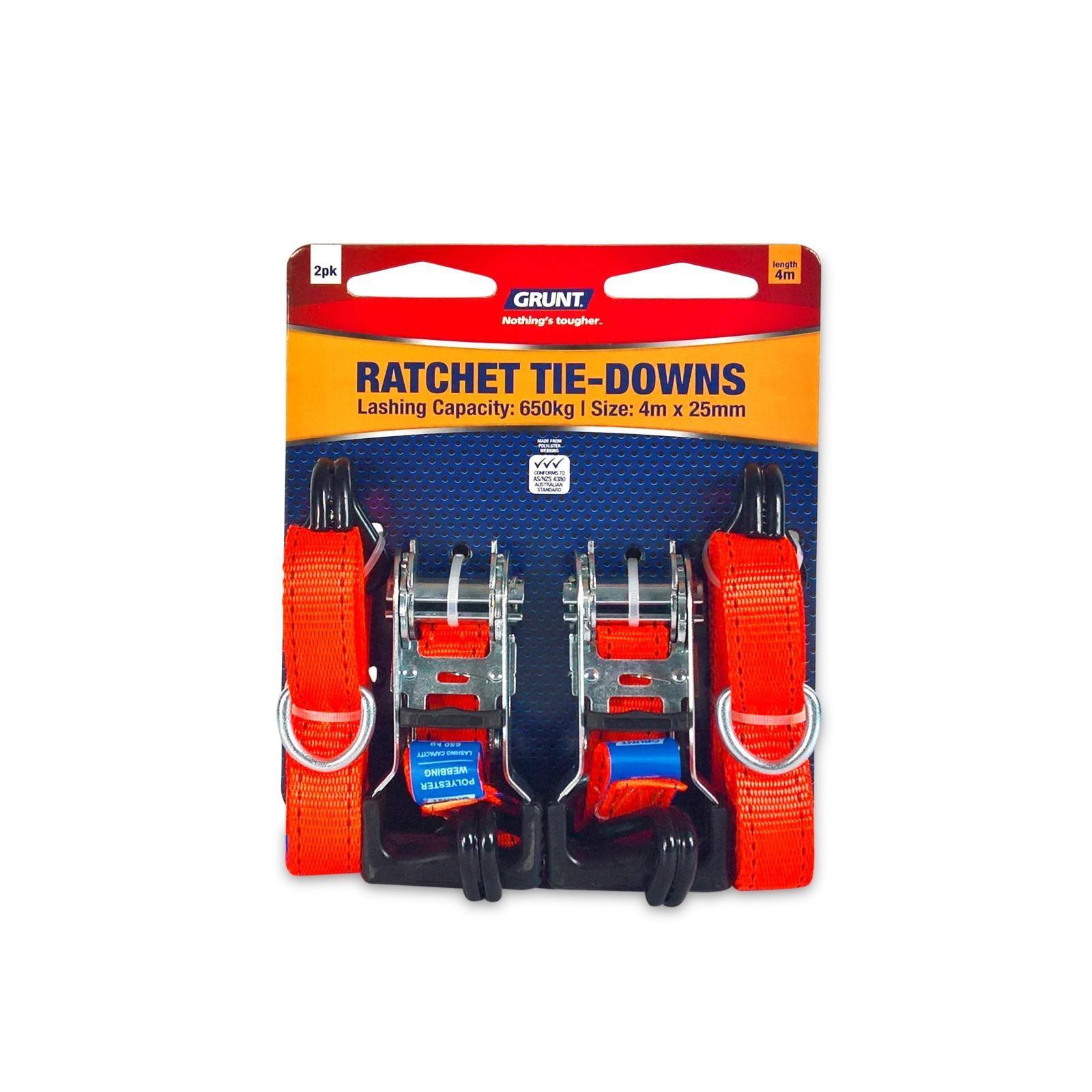 Grunt 25mm x 4m Ratchet Tie Down Straps - 2 Pack