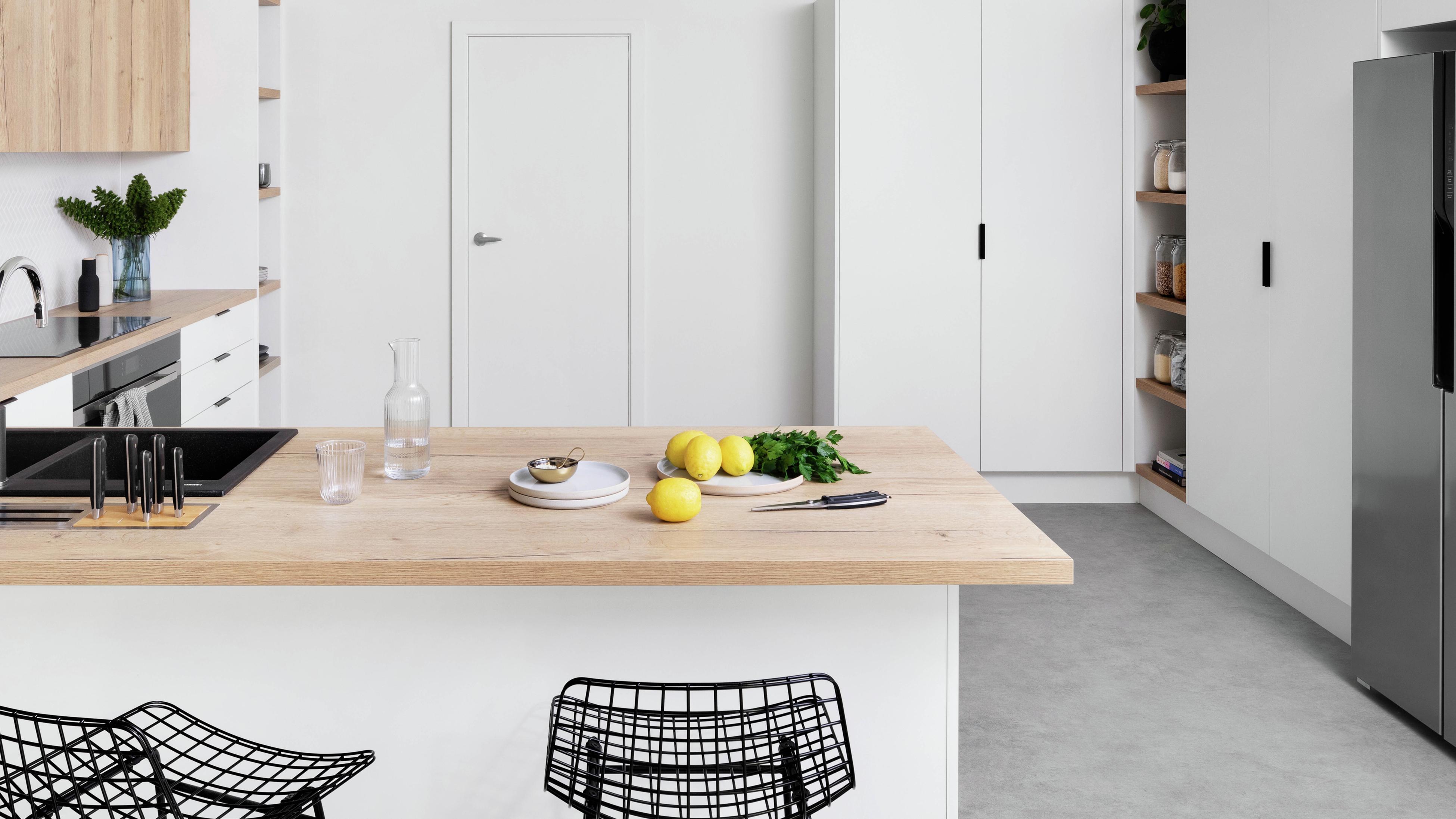 L-shape kitchen.