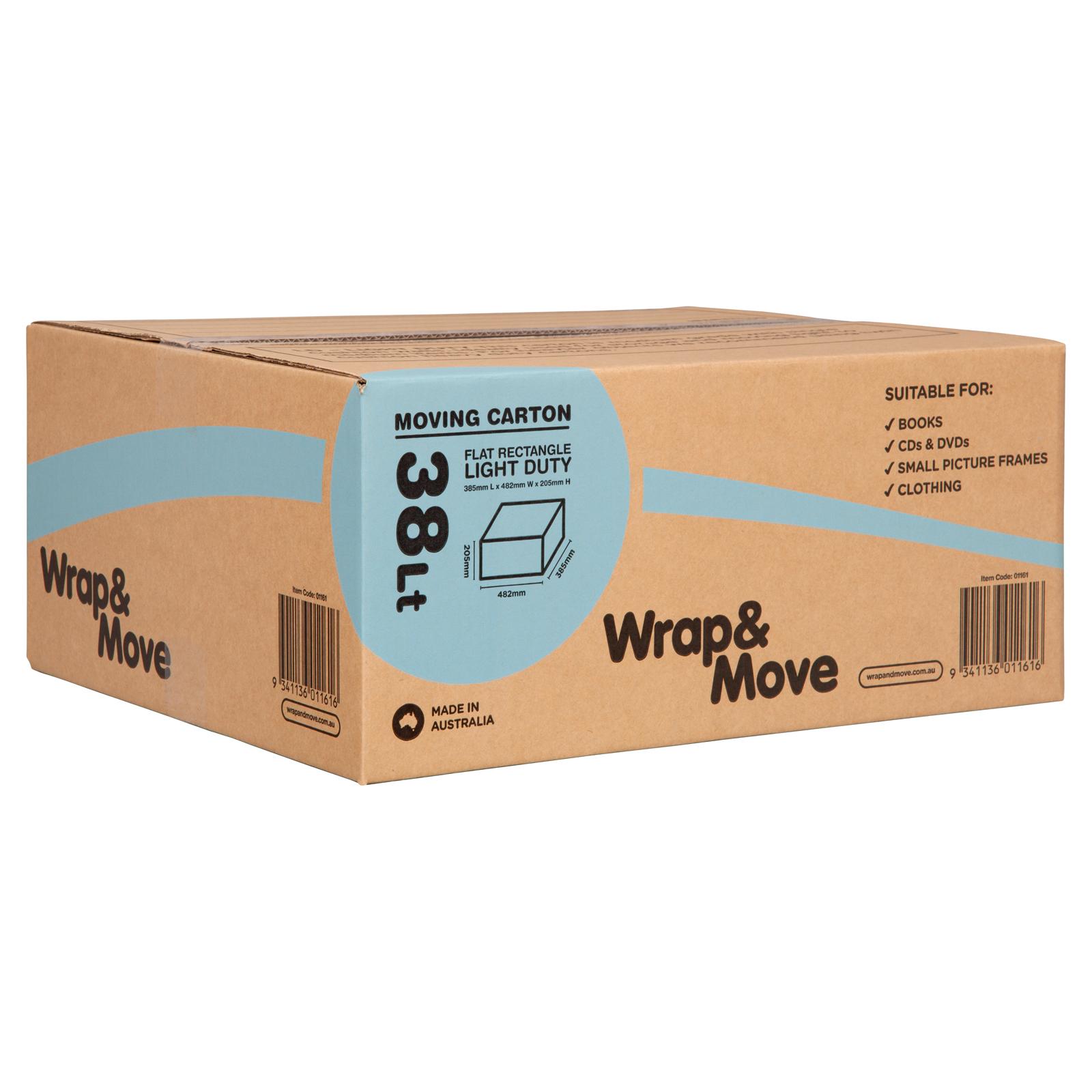 Wrap & Move 38L Light Duty Flat Rectangle Moving Carton