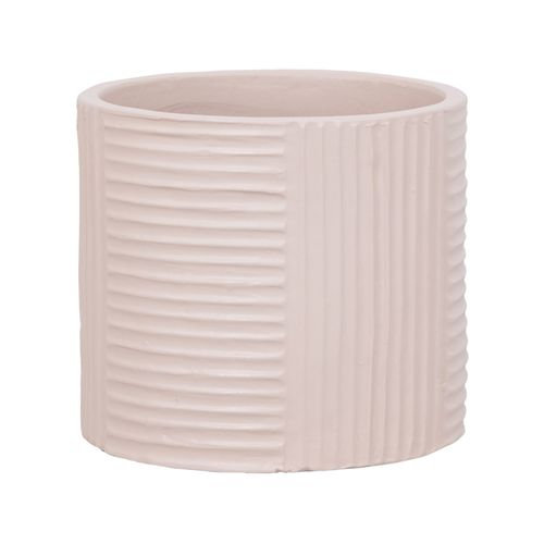 Lotus 28 x 25cm Cream XL Cylinder Ribbed Ceramic Pot