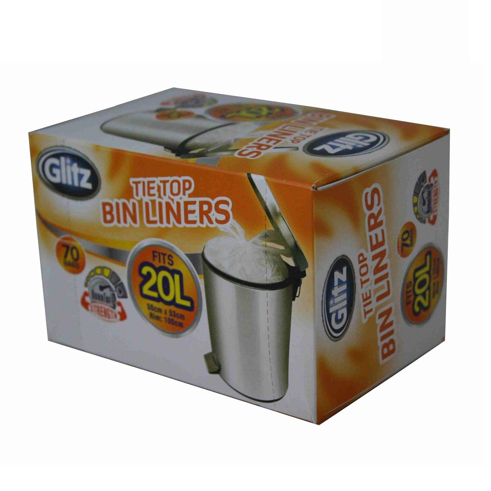 Glitz 20L Small Kitchen Bin Liners - 70 Pack