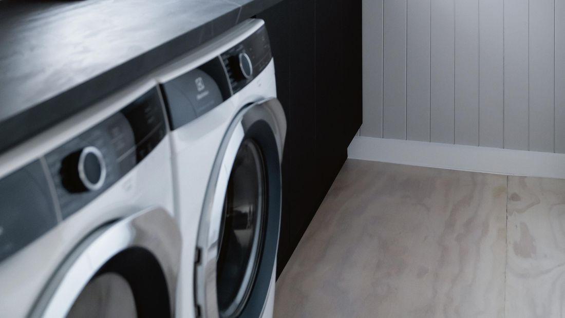 Close up of a washing machine.